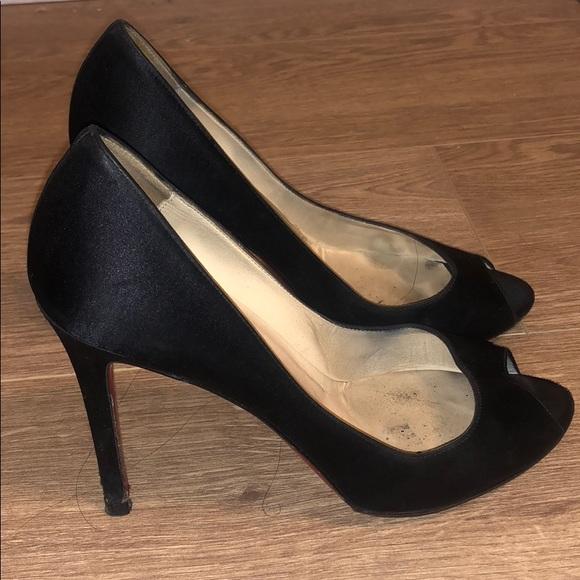 a362b4e9b14 Authentic Black Louboutin Satin heels. Size 37.